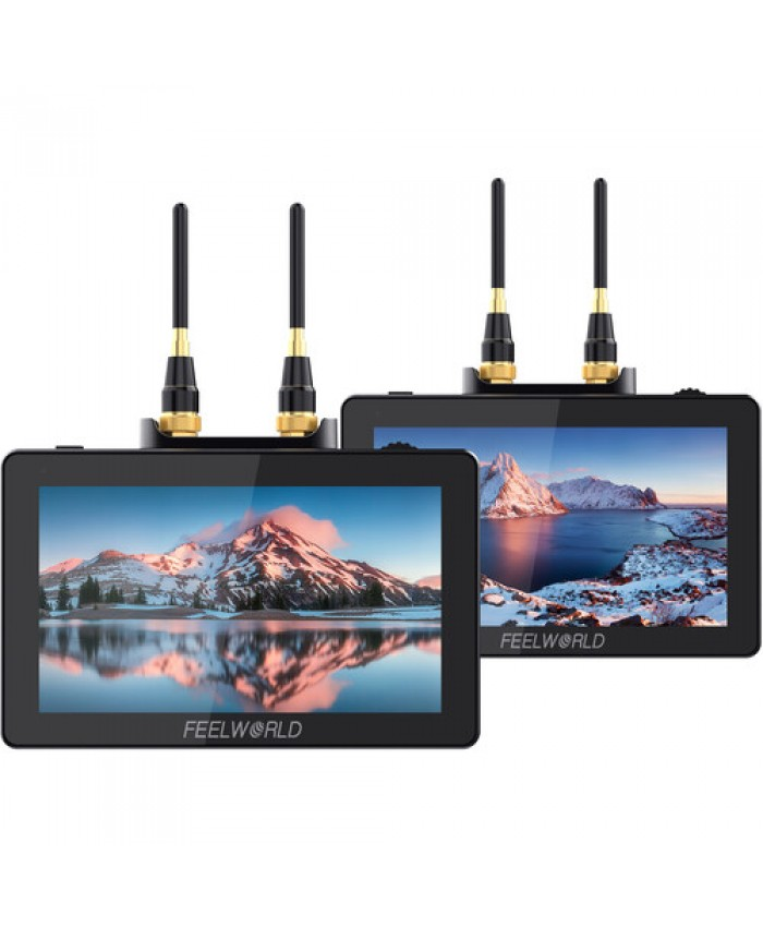 """FeelWorld Two 5.5"""" On-Camera Monitors with Wireless Transmitter & Receiver System"""