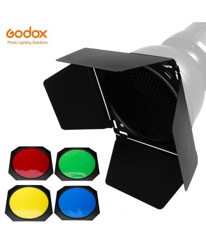 Godox BD-04 Barn Door and Honeycomb Grid and 4 Color Gel Filters