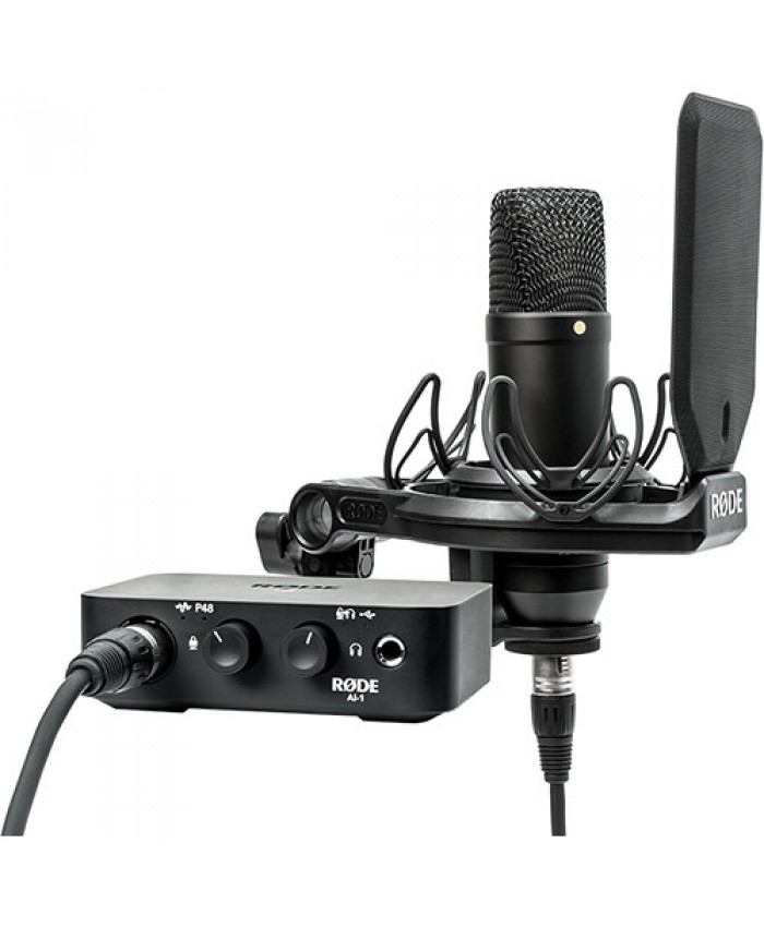 Rode Complete Studio Kit with AI-1 Audio Interface, NT1 Microphone, SMR Shockmount, and Cables