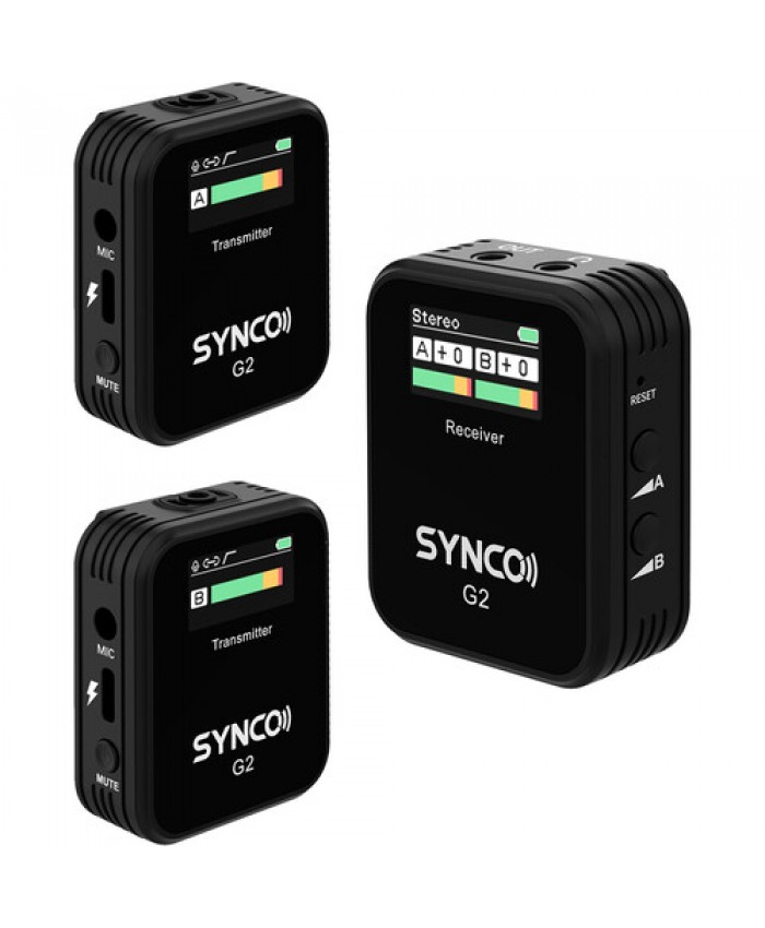 Synco WAir-G2-A2 2.4 GHz Ultracompact 2-Person Digital Wireless Microphone for Cameras