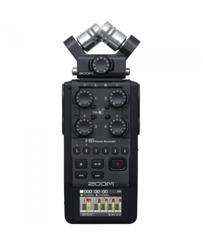 Zoom H6 All Black 6-Input / 6-Track Portable Handy Recorder with Single Mic Capsule Black