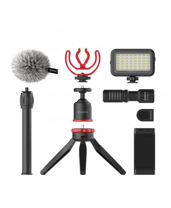 BOYA BY-VG350 Vlogger Kit Plus with BY-MM1+ Shotgun Microphone, LED Light