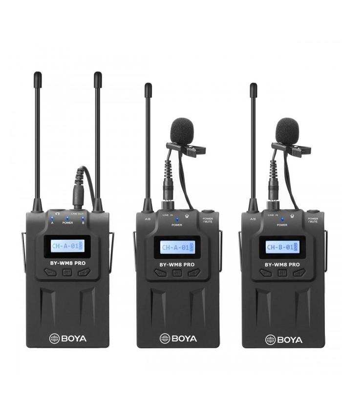 BOYA BY-WM8 K2 UHF Dual-Channel Wireless Lavalier Microphone System