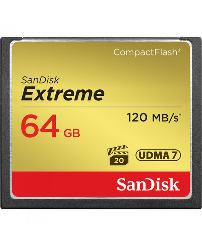 SanDisk Extreme 64GB CompactFlash Memory Card  120 MB/s